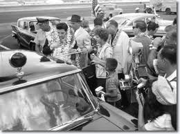 Elvis arriving at Honolulu, Hawaii